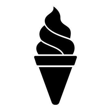 Minimalist, flat ice cream cone icon. Black silhouette. Isolated on white