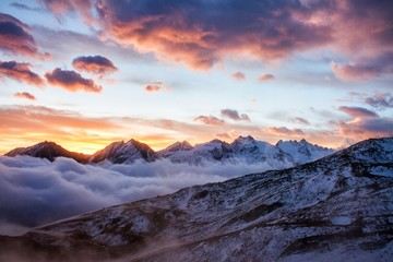 Foto op Canvas Scandinavië Great view of the foggy valley in Gran Paradiso National Park, Alps, Italy, dramatic scene, beautiful world. colourful autumn morning,scenic view with cloudy sky, majestic dawn in mountain landscape