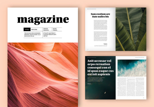Magazine Layout with Gray Accents