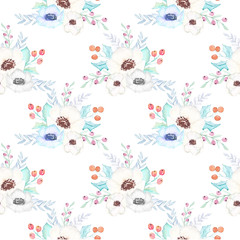 Watercolor Christmas Floral Pattern