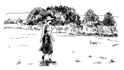 Woman on the meadow.