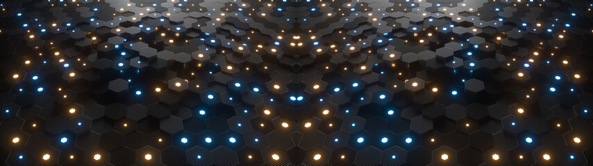 Abstract hexagonal geometric ultra wide background. Structure of lots of hexagons of carbon fiber with small glowing hexagons above. Dark and luminous geometric elements. 3d rendering