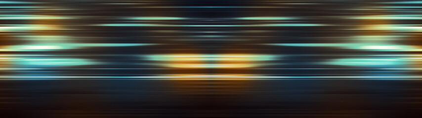 Glowing light stripes in motion over dark background. Luminous blurred lines moving fast. Flaring bright streaks. Abstract composition. 3d rendering