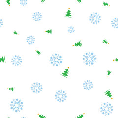 Green Christmas tree and snowflake seamless pattern