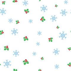 Christmas mistletoe and snowflake seamless pattern