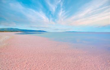 Beautiful landscape with pink salt lake - Ankara, Turkey