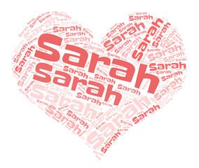 Sarah word cloud in heart shape