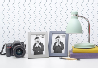 2 Photo Frames with Camera and Lamp Mockup