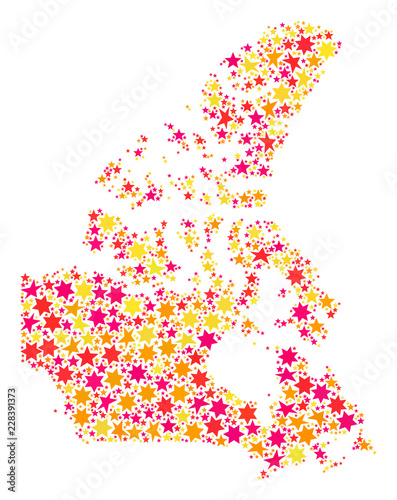 Colored Map Of Canada.Collage Map Of Canada Formed With Colored Flat Stars Vector Colored
