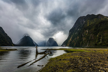 Fjord on a stormy cloudy day