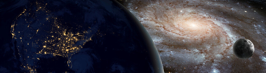 "Night view of North America against milkyway galaxy with moon - View of Earth from outer space with millions of stars around it.""Elements of this image furnished by NASA"