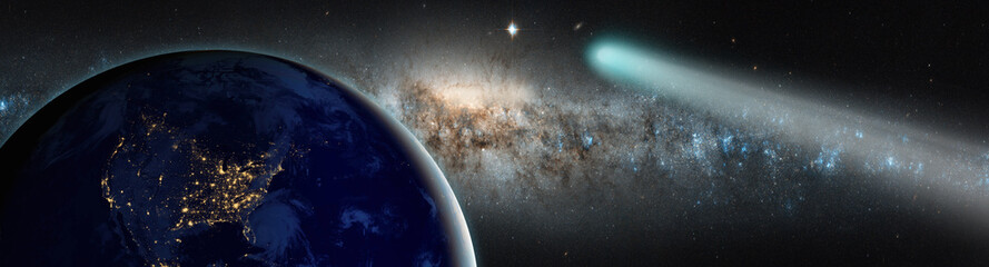 Comet on the space on the background milkyway galaxy