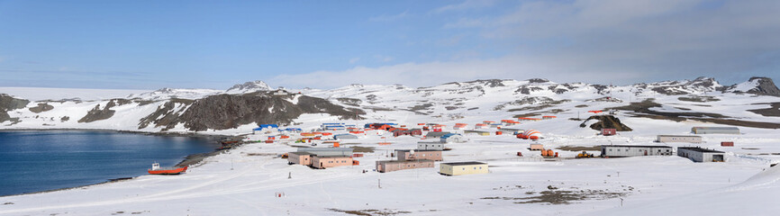 In de dag Antarctica Bellingshausen Russian Antarctic research station on King George island