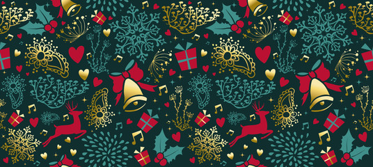 Vintage Christmas gold decoration seamless pattern