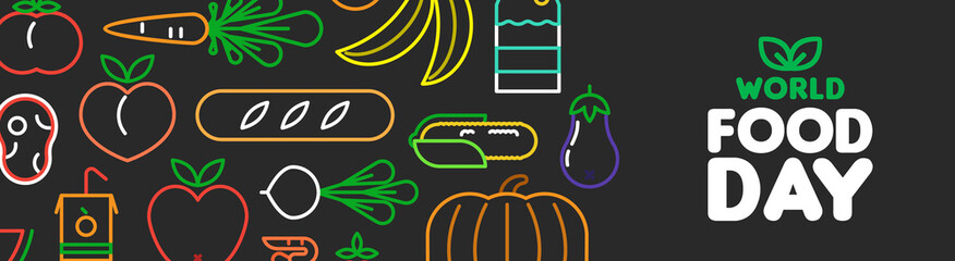 World Food Day web banner of outline icons