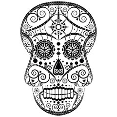 Black and white vector design of Mexican sugar scull Halloween and Day of the Dead symbol with floral, swirly and geometric elements