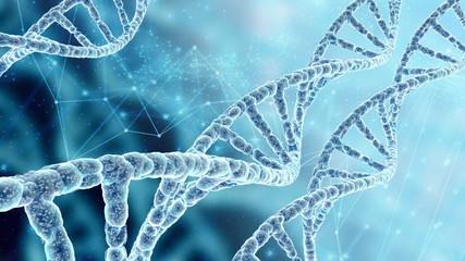 Beautiful scientific background with DNA spiral molecules