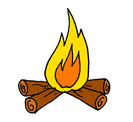 Illustration of a fire on some logs