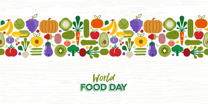 Food Day pattern card of vegetables and fruit