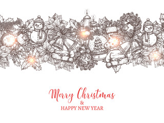 Christmas and happy New Year vector seamless pattern in the form of border made with festive and holiday hand drawn icons. Greeting card with sketch illustration