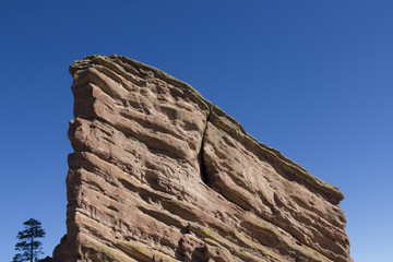 Massive boulder at Red Rocks Amphitheater, Colorado.