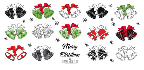 Merry Christmas greeting card red and green with modern bells. Vector illustration.