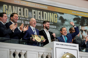 WBA Super Middleweight World Champion Rocky Fielding rings the opening bell at the NYSE in New York
