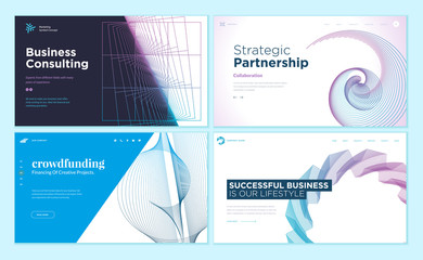 Wall Mural - Set of web page design templates with abstract background for strategic partnership, consulting, business success, crowdfunding. Vector illustration concepts for website development.