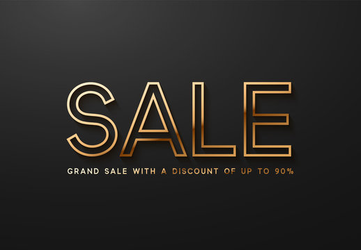 Sale, golden text. Sale vector lettering of gold on black background
