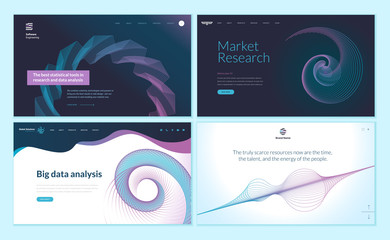 Set of web page design templates with abstract background for big data analysis, software, market research . Modern vector illustration concepts for website and mobile website development.
