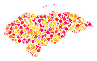 Collage map of Honduras created with colored flat stars. Vector colored geographic abstraction of map of Honduras with red, yellow, orange stars. Festive design for Christmas illustrations.