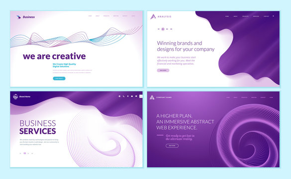 Set of web page design templates with abstract background for business services, creative design solutions, design agency. Vector illustration concepts for website and mobile website development.