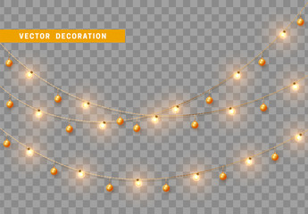 Christmas decorations, isolated on transparent background. Gold light garlands with balls realistic set. Golden Xmas decor. Festive design element