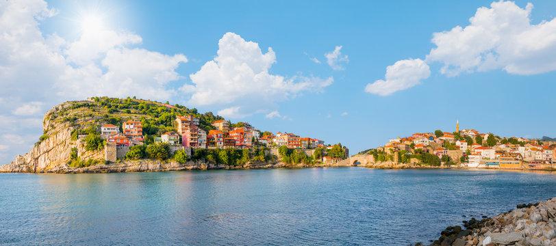 Beautiful cityscape on the mountains over Black-sea, Amasra. Amasra traditional Turkish architecture