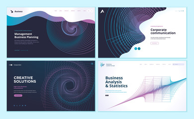 Set of web page design templates with abstract background for business analysis and statistics, management, corporate communication. Modern vector illustration concepts for website development.
