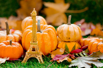 pumpkins and Eiffel tower souvenir on green lawn