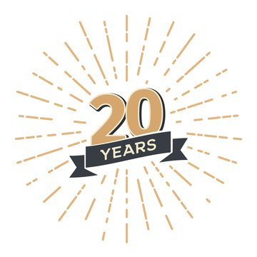 20 th anniversary retro vector emblem isolated template. Vintage logo Twenty years with ribbon and salute on white background