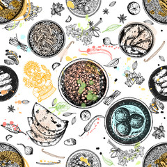 Seamless pattern of hand drawn sketch style Indian food isolated on white background. Vector illustration.