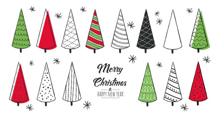 Set of hand drawn christmas tree. Decoration isolated elements. Greeting card red and green. Doodles and sketches vector illustration