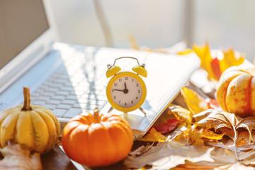 Orange pumpkin, alarm clock and leaves near laptop