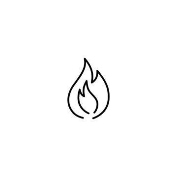 fire light symbol line black icon on white background