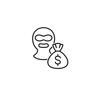 burglar with money sack line black icon on white background