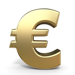 Golden currency symbol EURO 3D
