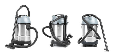 Set with modern professional carpet cleaner on white background