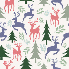 Vector Reindeers and Christmas Trees Seamless Pattern Background. Perfect for wallpaper, fabric and scrapbooking projects
