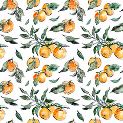 Watercolor hand drawn seamless pattern with tangerines and leaves