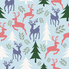Vector Sky blue Reindeer ad Christmas Trees Background Pattern Design. Perfect for fabric, wallpaper, stationery and scrapbooking projects