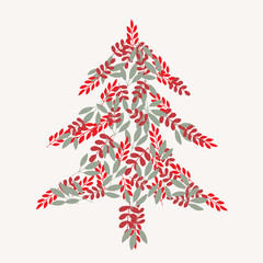 Vector Cream christmas tree and leaves pattern background. Perfect for fabric, textiles, scrapbooking and wallpaper projects.