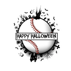 Happy halloween and baseball ball