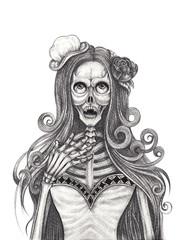 Art vampires Skull Tattoo. Hand pencil drawing on paper.